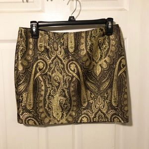 Alice and Olivia Gold Paisley Skirt